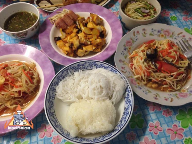 878eaaa1392272d2634082cec5808ba0 Recipe Thai Green Papaya Salad, 'Som Tum' :: ImportFood