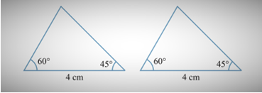 A triangle with an included side of 4cm