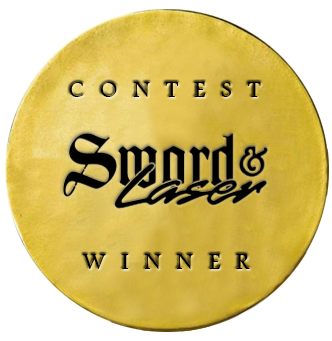 Sword and laser contest badge