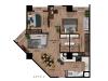 Apartamento de 2 hab con 3 balcones