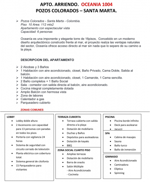 APARTAMENTO DE DOS ALCOBAS FRENTE AL MAR