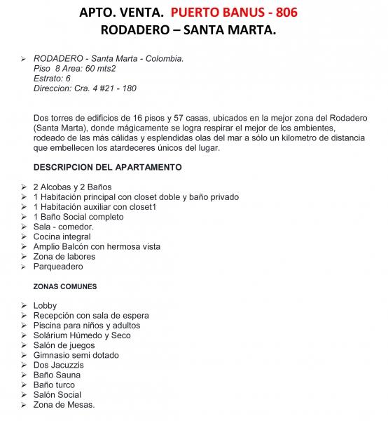 APARTAMENTO DE DOS ALCOBAS CERCA AL RODADERO