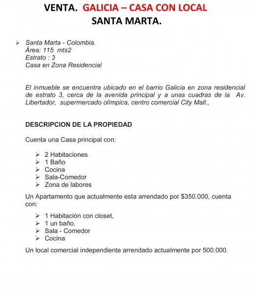 AMPLIA CASA CON APARTAMENTO Y LOCAL COMERCIAL