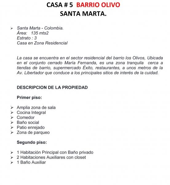 Santa Marta - Casa de tres alcobas