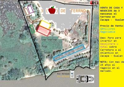 VENTA DE CASA Y NEGOCIOS de 3 manzanas el terreno en Zacapa - Gualan