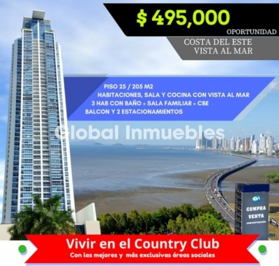 Oportunidad Costa del Este Country Club. Vista al Mar