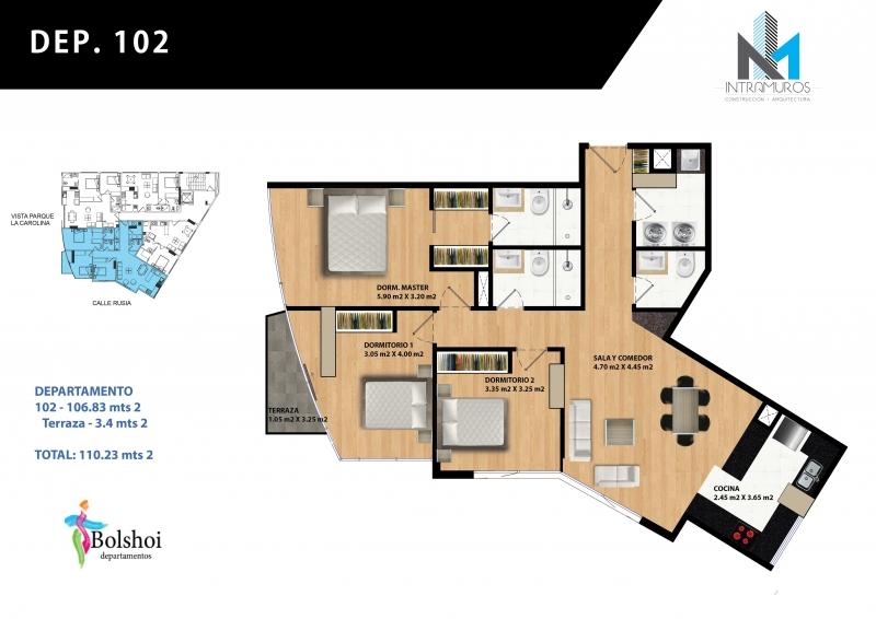 Nuevo Departamento de 3 Habitaciones alado del Parque La Carolina.