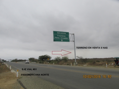 VENTA DE TERRENO 5 HAS EJE VIAL # 01 PERÚ- ECUADOR  TUMBES