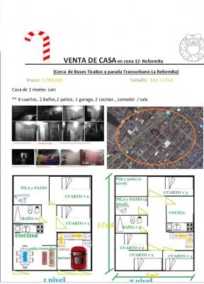 VENTA DE CASA EN ZONA  12, Col. la reformita