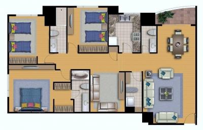 Zona 14 Vendo apartamento 3 Dormitorios/ Nivel Alto