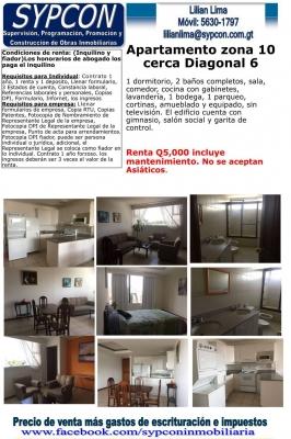 Apartamento zona 10 cerca Diagonal 6, 1 dormitorio, 2 baños completos