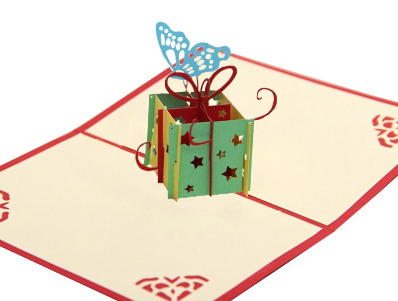 3D Birthday Card - Butterfly And Present