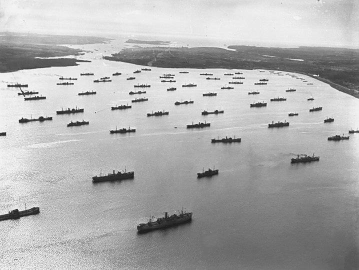 Ships waiting for a convoy to begin. Halifax Harbour 1941