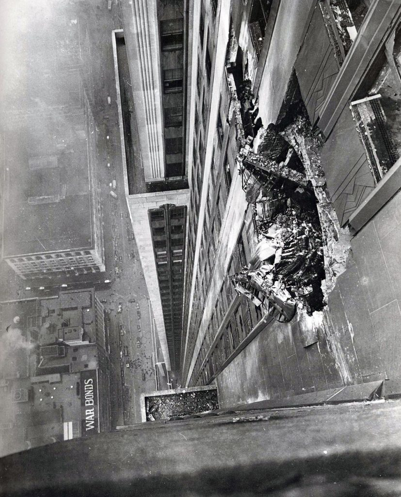 B-25 Bomber Hits 78th Floor of the Empire State Building (Photo by Ernie Sisto/New York Times)