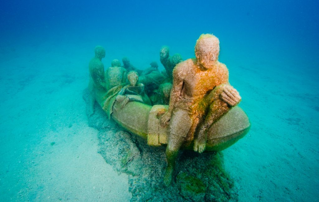 The Raft of Lampedusa. Depth 14m, Museo Atlantico, Spain. Photo: Jason DeCaires Taylor