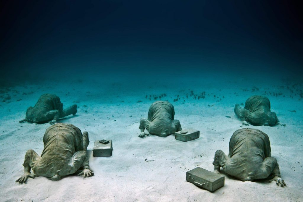 Banker. Depth 6m, MUSA Collection, Cancun/Isla Mujeres, Mexico. Photo: Jason Decaires Taylor