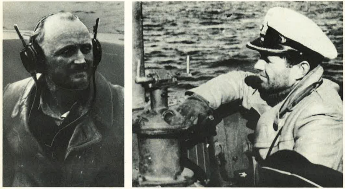 Wartime photos of (L) Dr. Sommermeyer listening to transmissions from weather stations WFL26 while aboard the U-Boat off of the Labrador coast on Oct 1943; and (R) Captain Peter Schrewe, commander of the U-537. The photos are from Dr. Sommermeyer's son, and given to Canadian Geographic in 1980's.