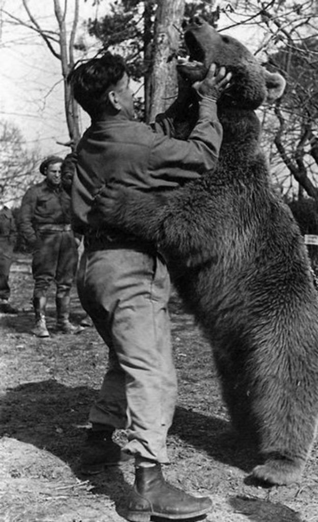 Wojtek enjoyed boxing and wrestling with this comrades.