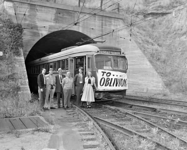 A Pacific Electric car with an ominous sign on the line's last day of service, June, 19 1955. From the Metro Transportation Library and Archive. Used under a Creative Commons license (CC BY-NC-SA 2.0).