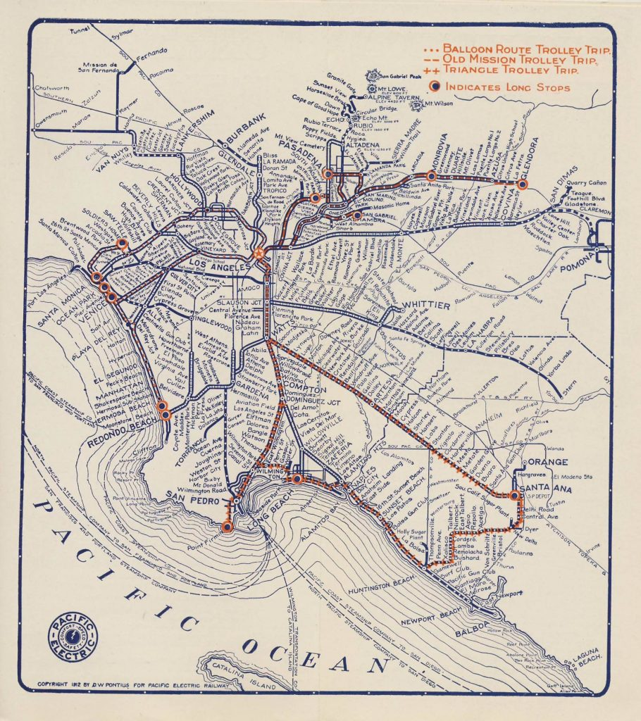 The Railway covered a wide swath of the Los Angeles area in 1912.
