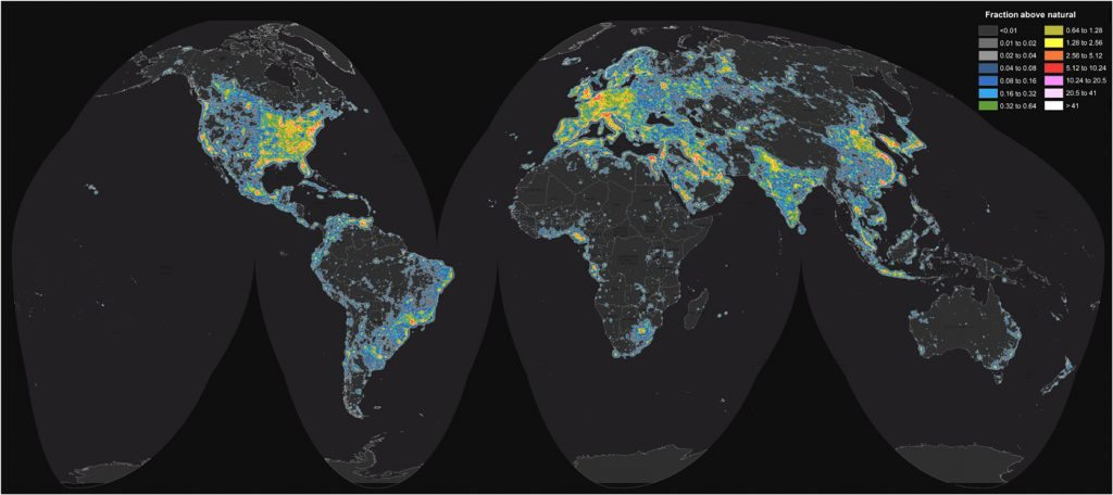 World map of artificial sky brightness: Source Science Advances