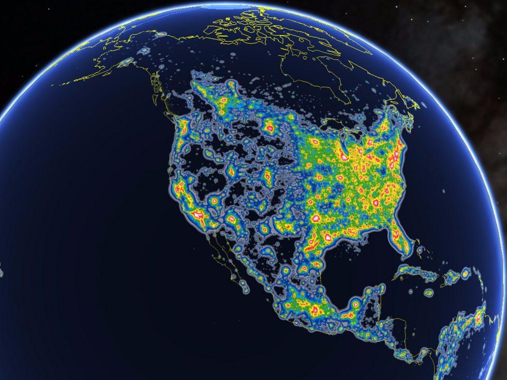 Light Pollution over North America. Google Earth / Fabio Falchi