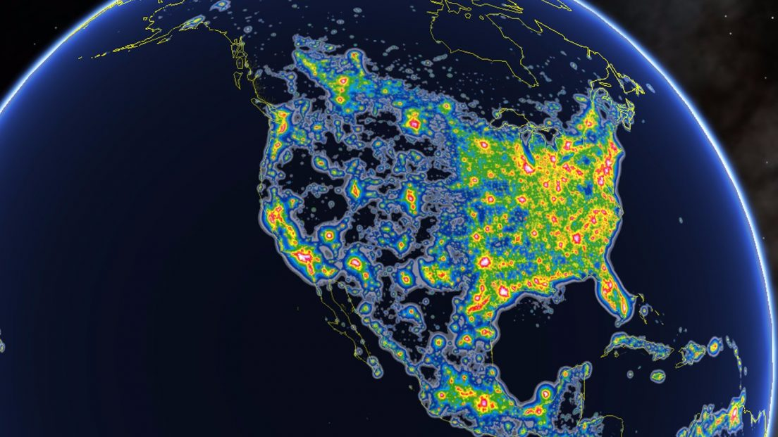 Light Pollution over North America. Google Earth / Fabio Falchi