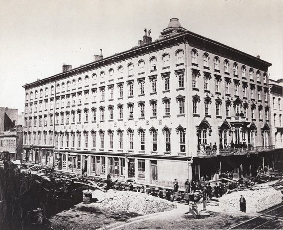 Moving the Briggs Building in 1855