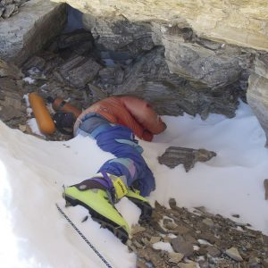 """Photo of """"Green Boots"""", Indian climber who died on the Northeast Ridge of Mt. Everest in 1996."""