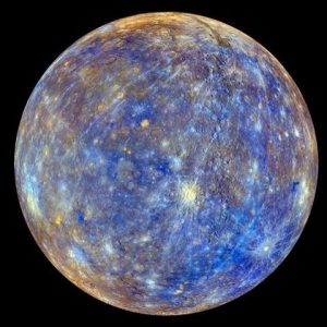 This false-colour image of Mercury is not what the planet would look like to the naked eye. The colors enhance the chemical, mineralogical, and physical differences between the rocks that make up Mercury's surface. Source: NASA