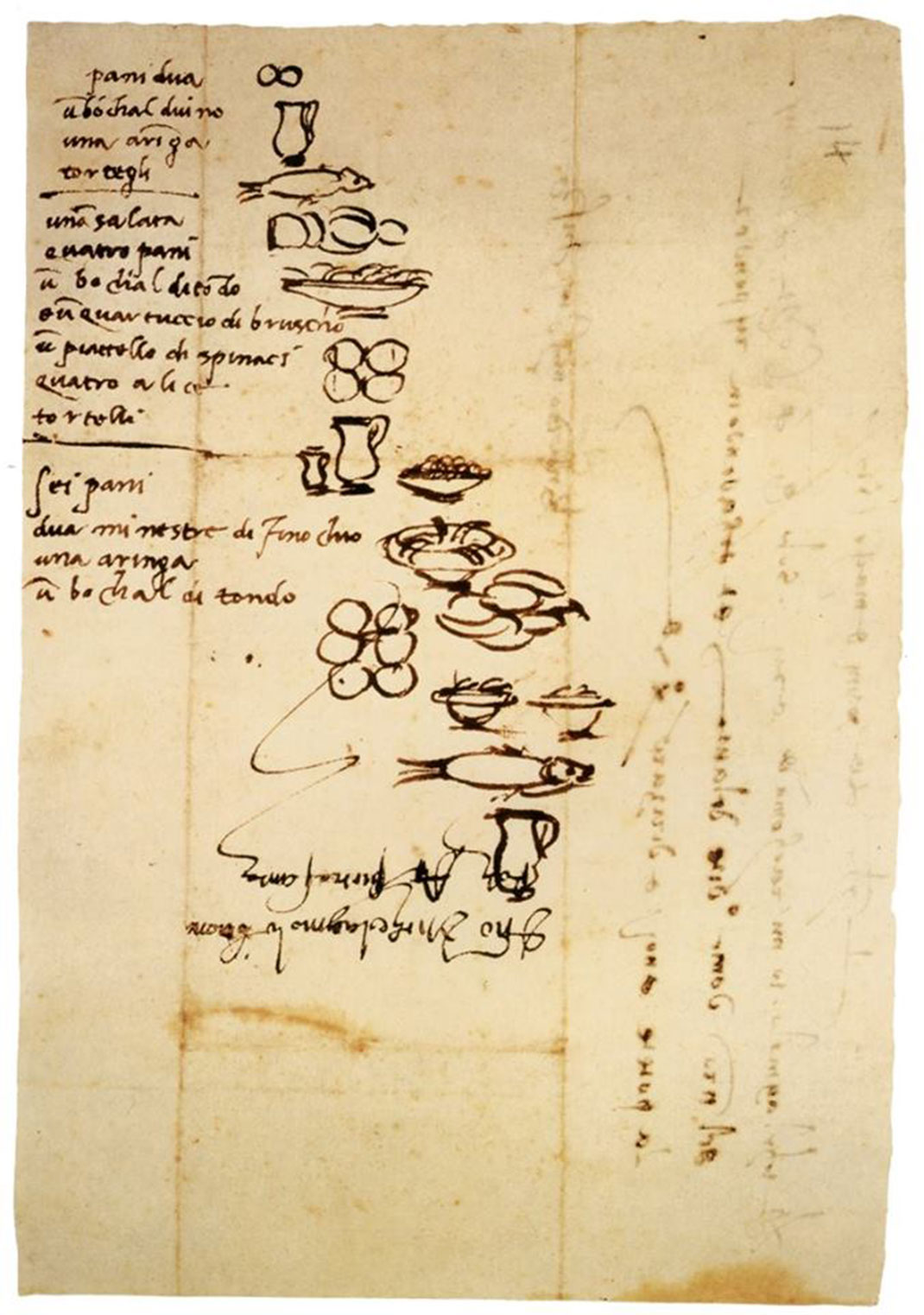 This is an illustrated grocery list that Michelangelo would create for his illiterate servants.