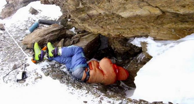 "Tsewang Paljor's body commonly referred to as ""Green Boots"" has become a map marker for climbers."