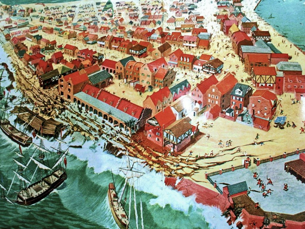 "Robert W. Nicholson created this artistic impression of events which occurred during the June 7, 1692 ""Port Royal Earthquake."" The scene recreates the destruction caused by the quake and resulting tsunami which sent much of Port Royal into the sea."