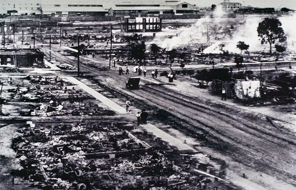 What is left of parts of Greenwood in north Tulsa, Oklahoma