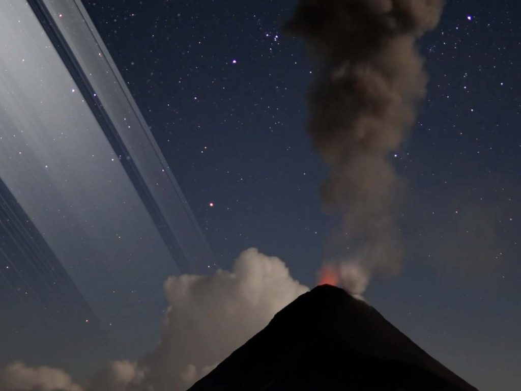 Guatemala nearer to the equator sees the rings very high in the sky.