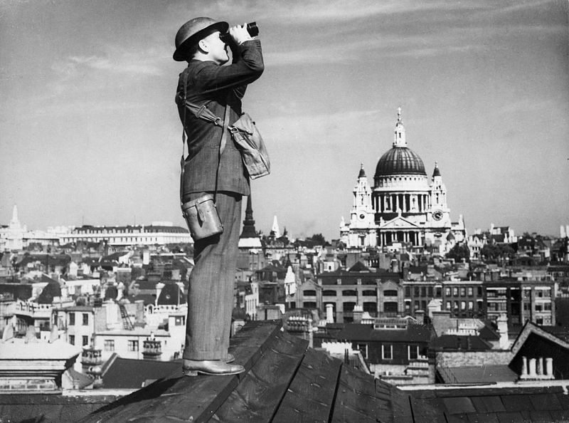 Spotter on the roof of St. Paul's