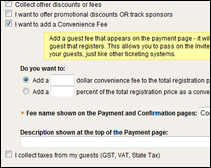 event sample convenience fee