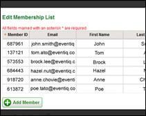 event sample membership list