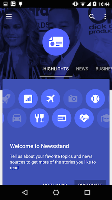 Google Play Newsstand Cards