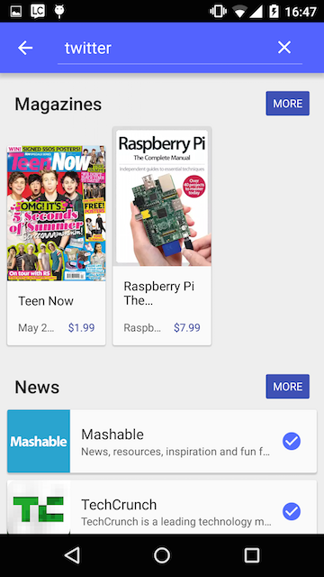 Google Play Newsstand Search