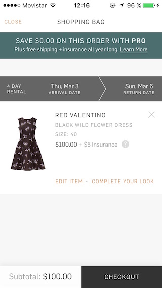 Rent the Runway Shopping Cart