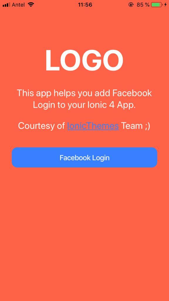 Ionic 4 Facebook Log In
