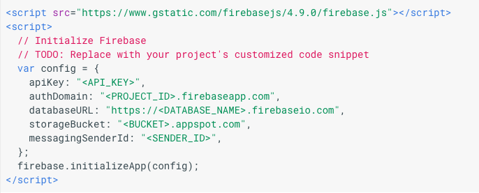 Firebase app credentials