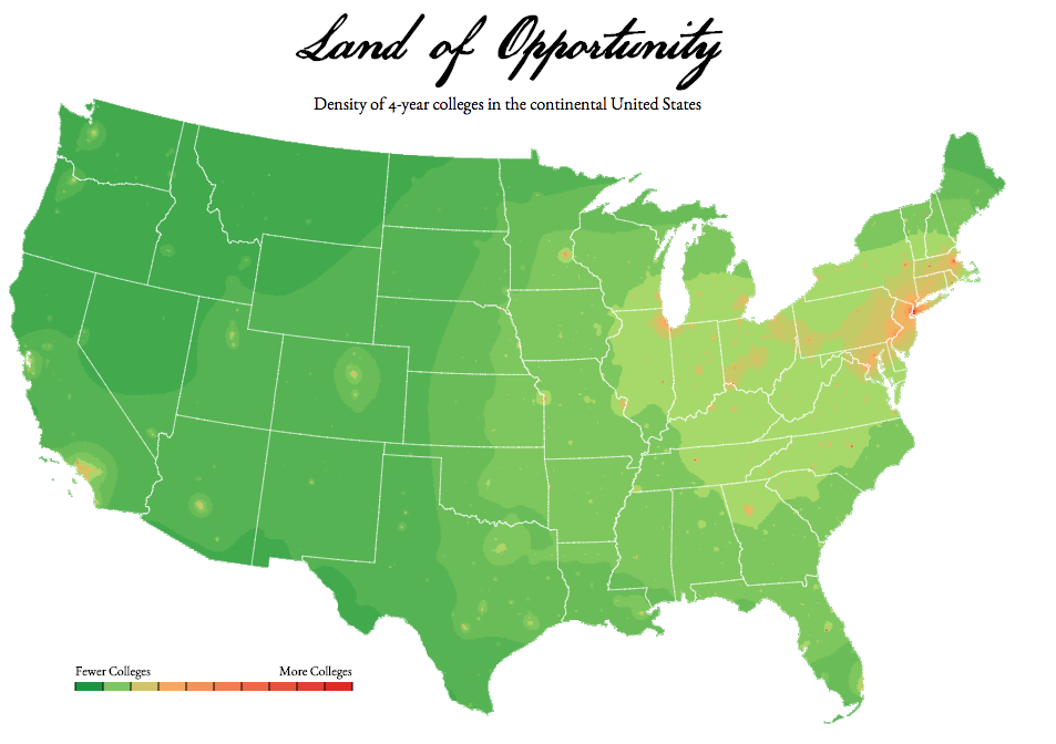 Density Map Of Year Colleges In The Continental US Overfitted - Continental us map