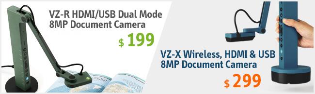 IPEVO - VZ-R HDMI/USB Dual Mode 8MP Document Camera & VZ-X Wireless, HDMI & USB 8MP Document Camera