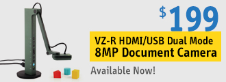 VZ-R HDMI/USB Dual Mode 8MP Document Camera