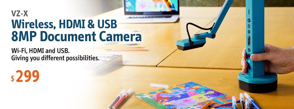 VZ-X Wireless, HDMI & USB 8MP Doc Cam