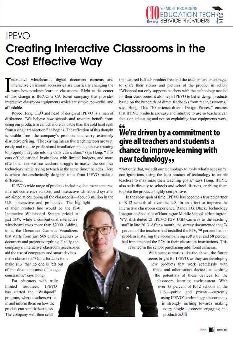 Courtesy of: CIO Review Magazine, October 2014 Education Technology Special Issue