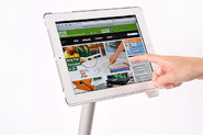 With the dual axis hinge iPad can be rotated 360 horizontally