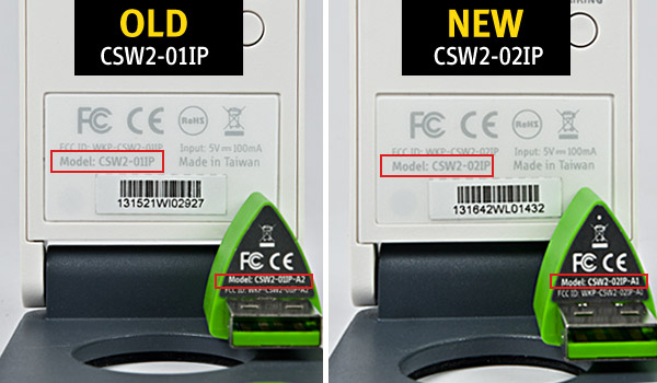 """check the triangular sticker tab of the Wireless Receiver for the model number. If the model number shows """"CSW2-01IP-A2"""", it means the Wireless Receiver is for use with the older version of IW2. If the model number shows """"CSW2-02IP-A1"""", it means it is for use with the newer version."""